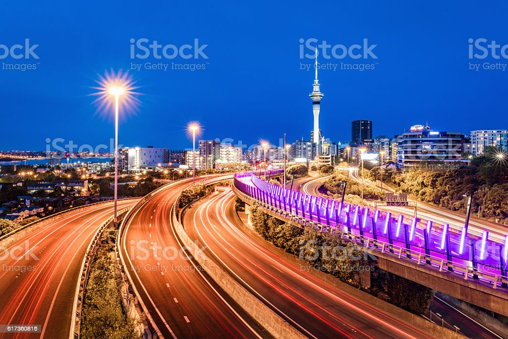 Auckland City Sky Tower Highway Traffic at Night New Zealand stock photo