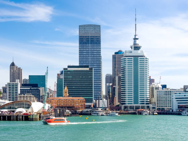 Auckland City skyline in New Zealand. stock photo