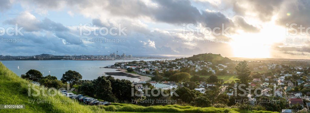 Auckland city view from North Head Devonport, New Zealand. stock photo