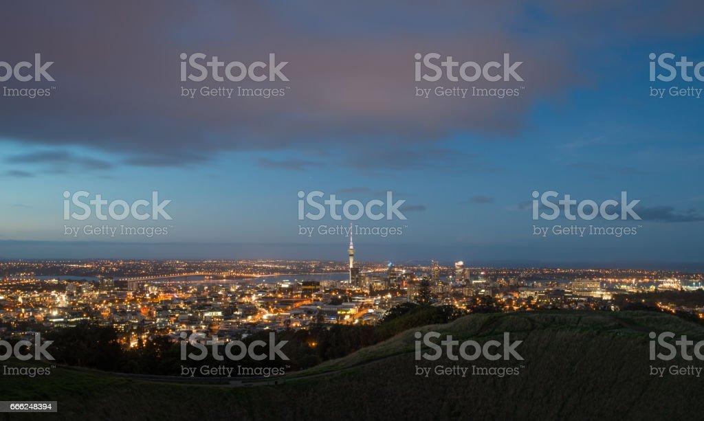 Auckland cityscape at night, New Zealand. stock photo