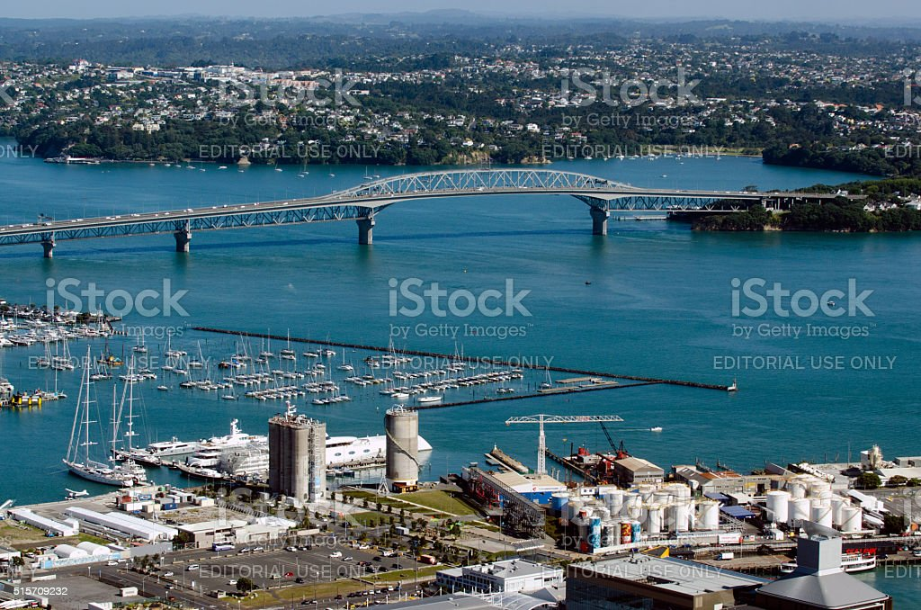 Auckland Cityscape - Harbour Bridge stock photo