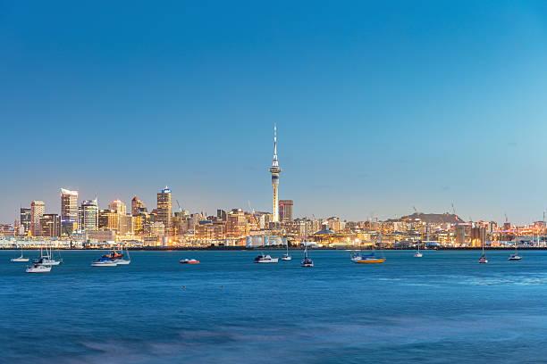 Auckland Cityscape Twilight New Zealand stock photo