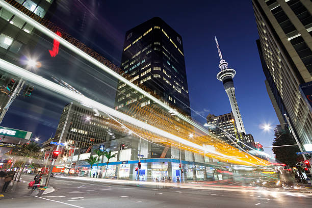 Auckland downtown at nigh, New Zealand stock photo
