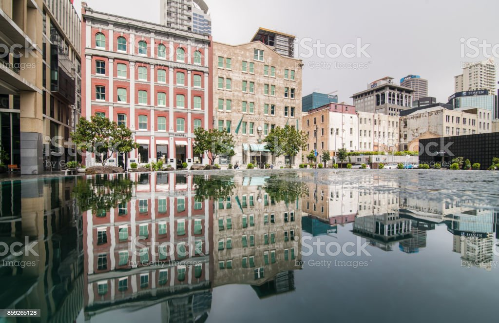 Auckland Downtown Reflection. stock photo