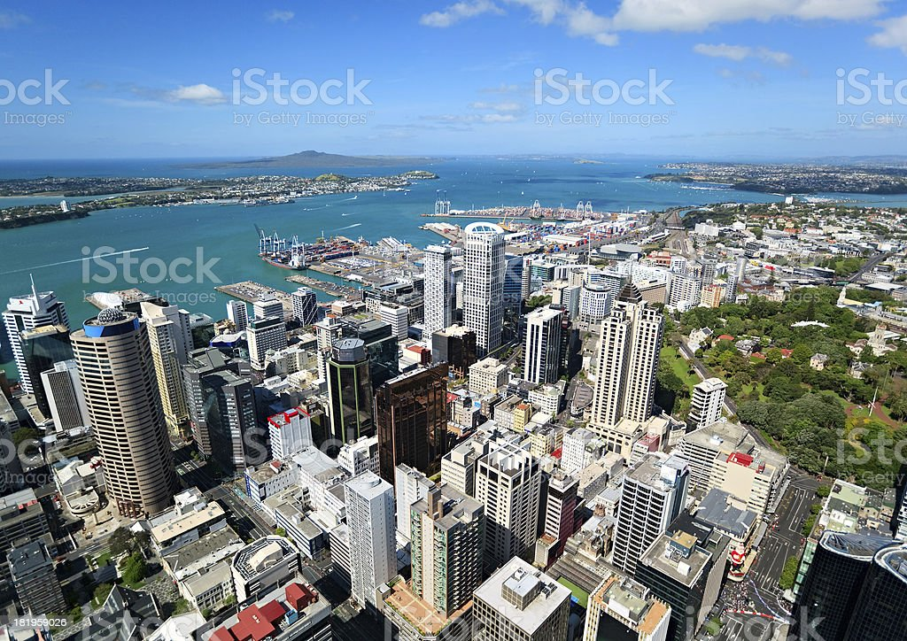 Auckland from top, New Zealand stock photo