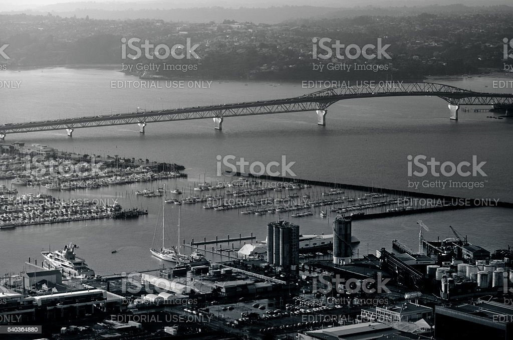 Auckland harbor bridge in Auckland New Zealand NZ stock photo