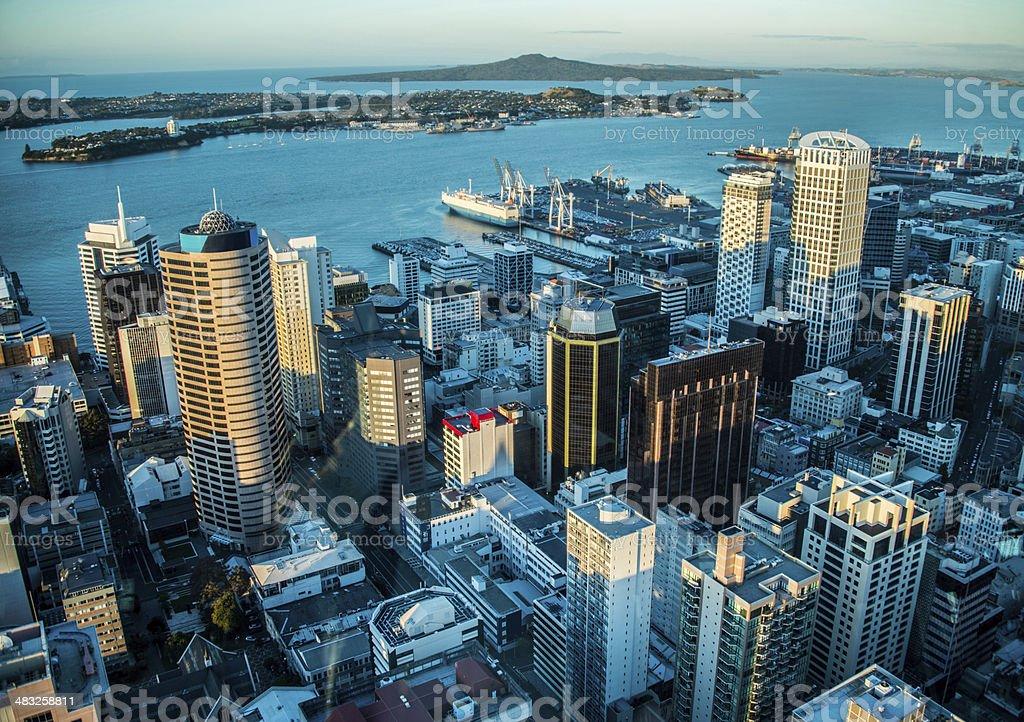 Auckland harbor stock photo