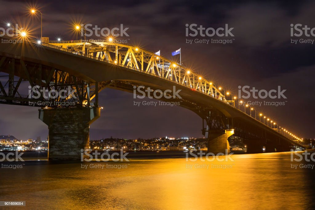 Auckland Harbour Bridge at night stock photo