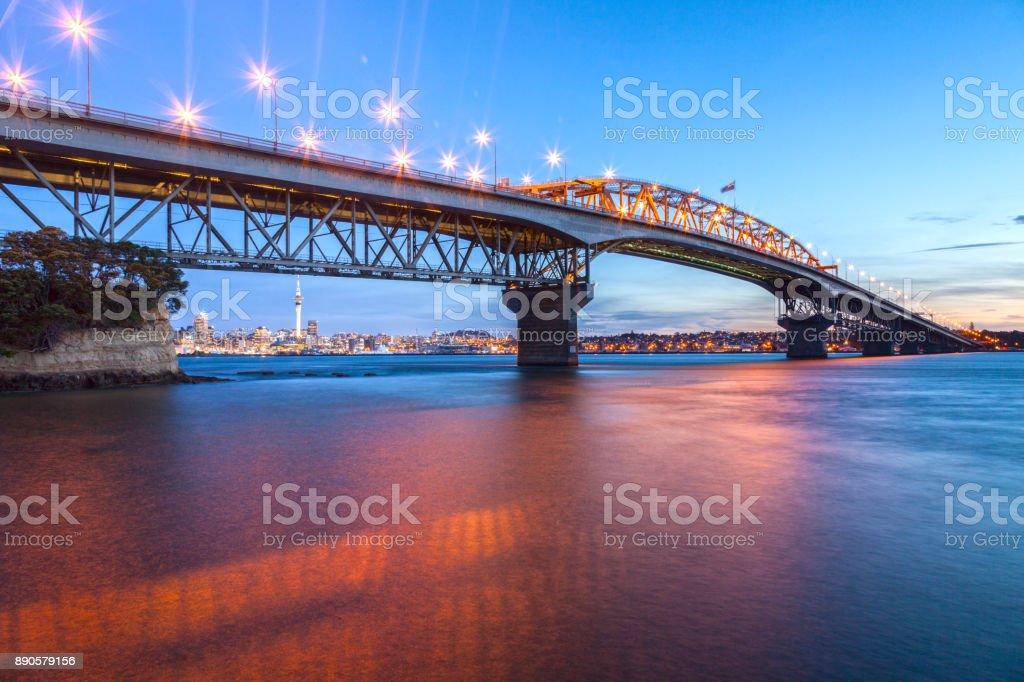 Auckland Harbour Bridge, Evening stock photo