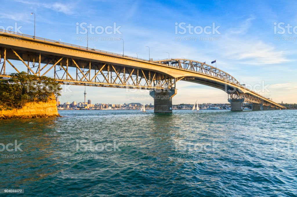 Auckland Harbour Bridge, Evening stock photo