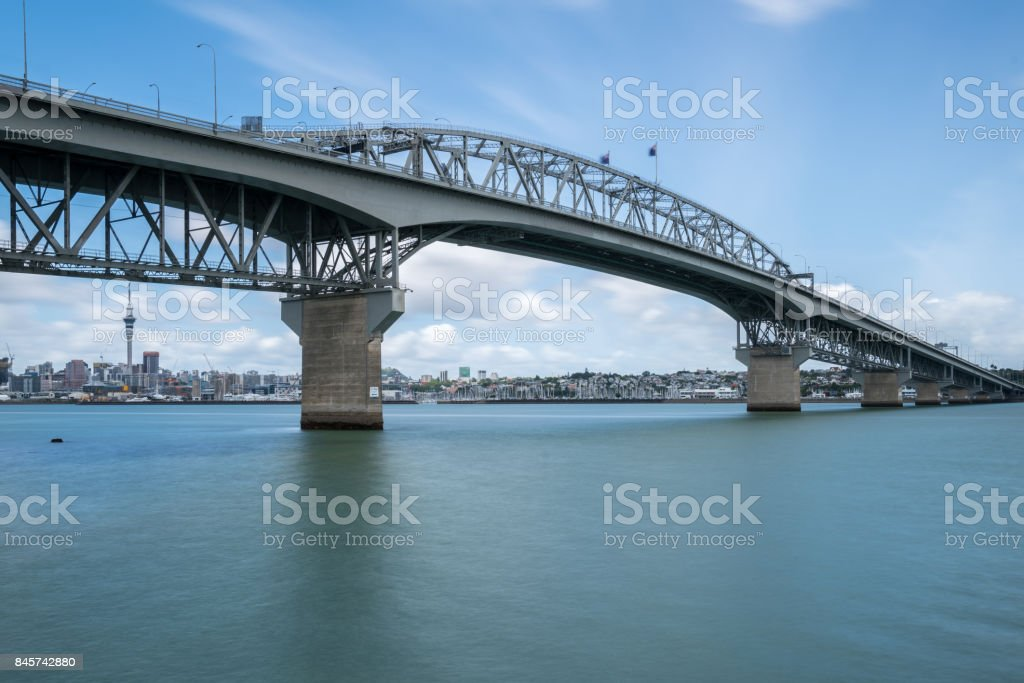 Auckland Harbour Bridge in Auckland, New Zealand stock photo