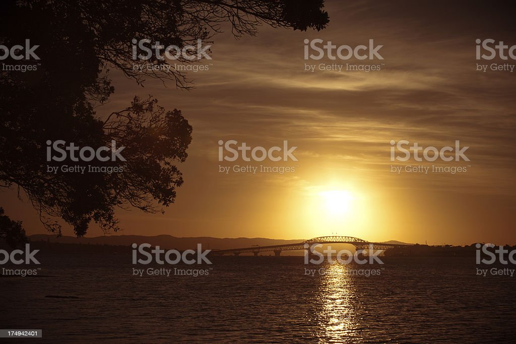 Auckland Harbour Bridge on the Sunset stock photo