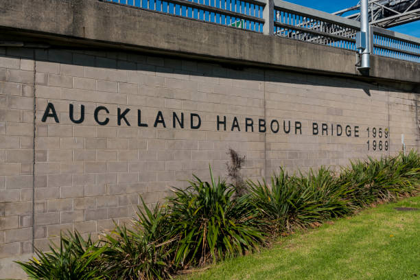 Auckland Harbour Bridge Sign stock photo