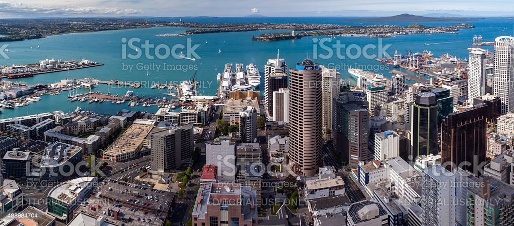 Auckland Harbour Panorama stock photo