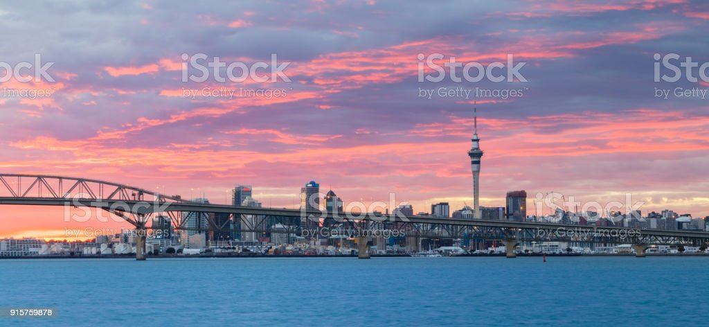 Auckland Harbour Sunrise Sky stock photo
