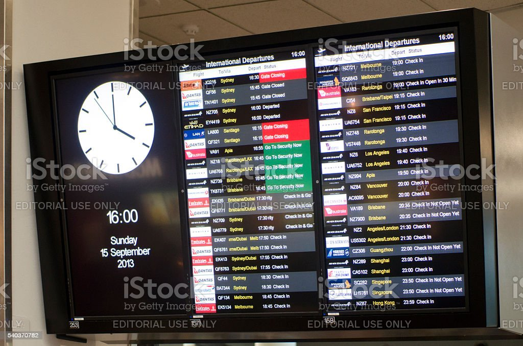 Auckland international airport departures board stock photo