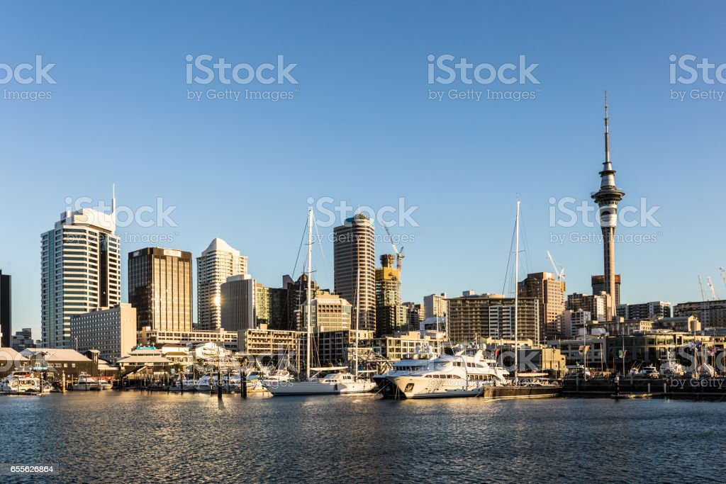 Auckland marina and skyline in New Zealand largest city. stock photo