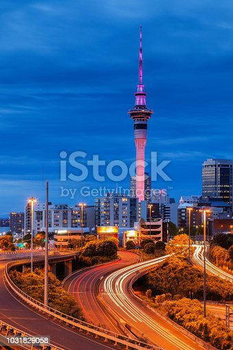 Auckland at twilight, with car trails illuminated on motorway.