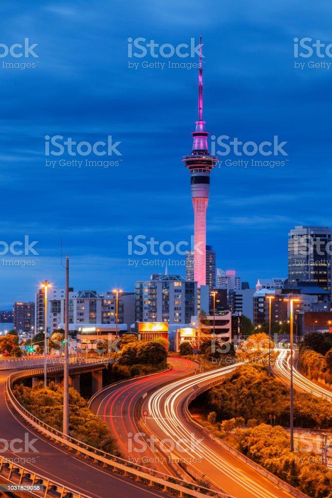 Auckland Motorway Illuminated stock photo