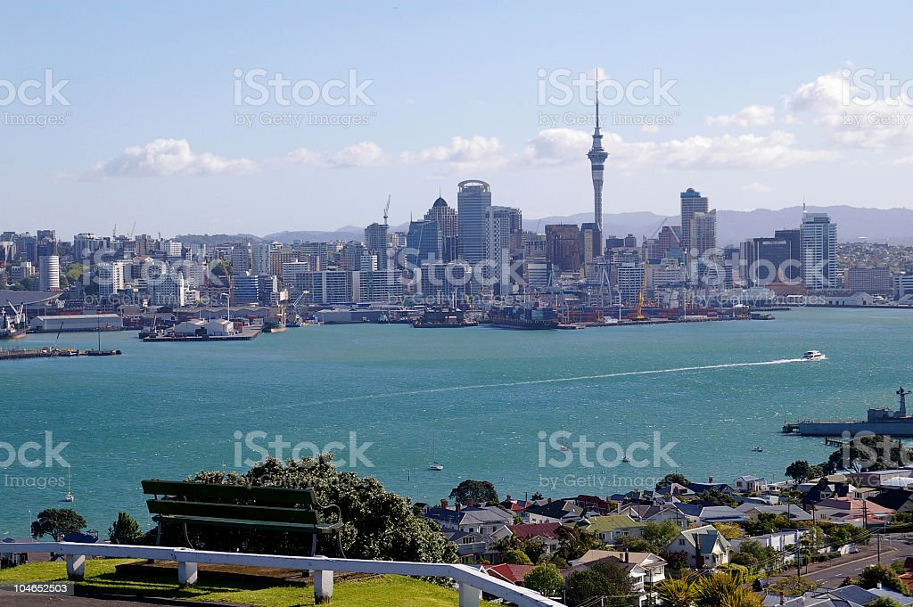 Auckland, New Zealand, from Mt. Victoria stock photo