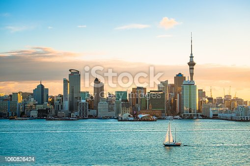 istock 2018, JAN 3 - Auckland, New Zealand, Panorama view, Beautiful landcape of the building in Auckland city before sunset. View from Cyril Bassett VC Lookout. 1060826424