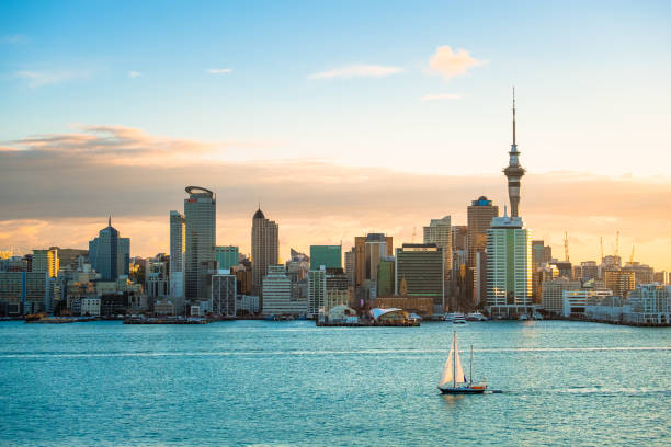 2018, JAN 3 - Auckland, New Zealand, Panorama view, Beautiful landcape of the building in Auckland city before sunset. View from Cyril Bassett VC Lookout. stock photo