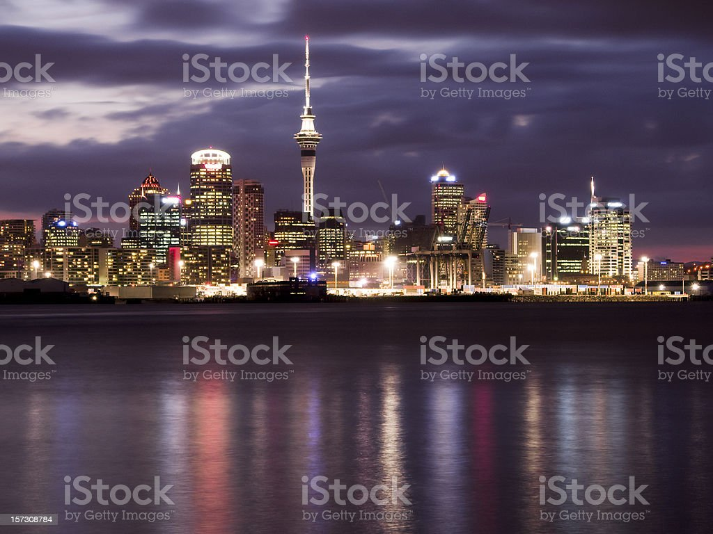 Auckland Night Skyline stock photo