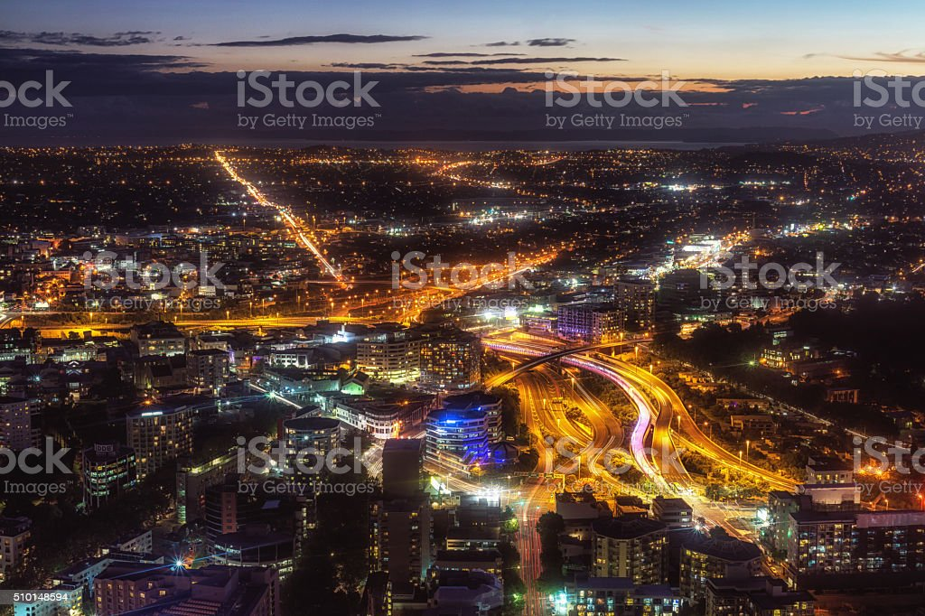 auckland night view stock photo