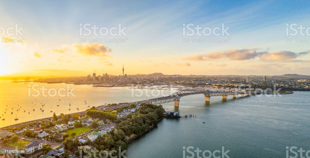 Auckland Panorama bij zonsopgang - Royalty-free Auckland Stockfoto
