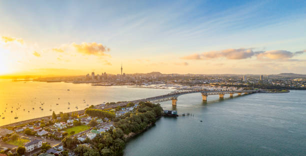 Auckland panorama at sunrise A panoramic image from above of Auckland, with the Sky Tower and CBD visible across Waitemata Harbor and the Auckland Harbour Bridge. oceania stock pictures, royalty-free photos & images