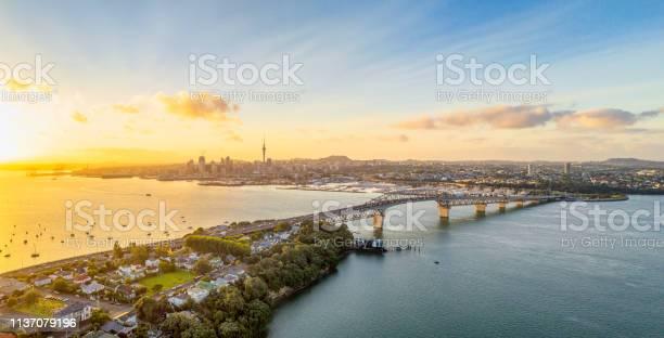 Auckland Panorama Bij Zonsopgang Stockfoto en meer beelden van Auckland
