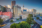 Aerial cityscape image of Auckland skyline, New Zealand during summer day.