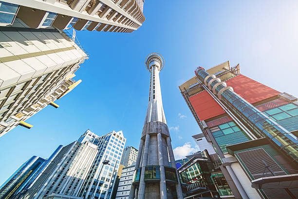 Auckland Sky Tower and Skyscrapers New Zealand stock photo