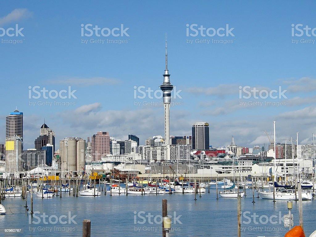 Auckland Sky Tower & marina royalty-free stock photo