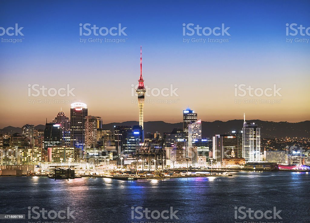 Auckland Skyline at Dusk stock photo