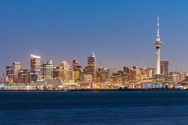 Auckland Skyline at Night New Zealand stock photo