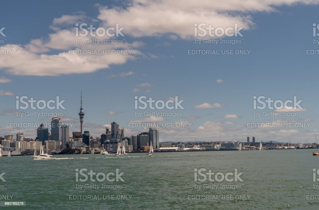Auckland skyline downtown and Westhaven. stock photo