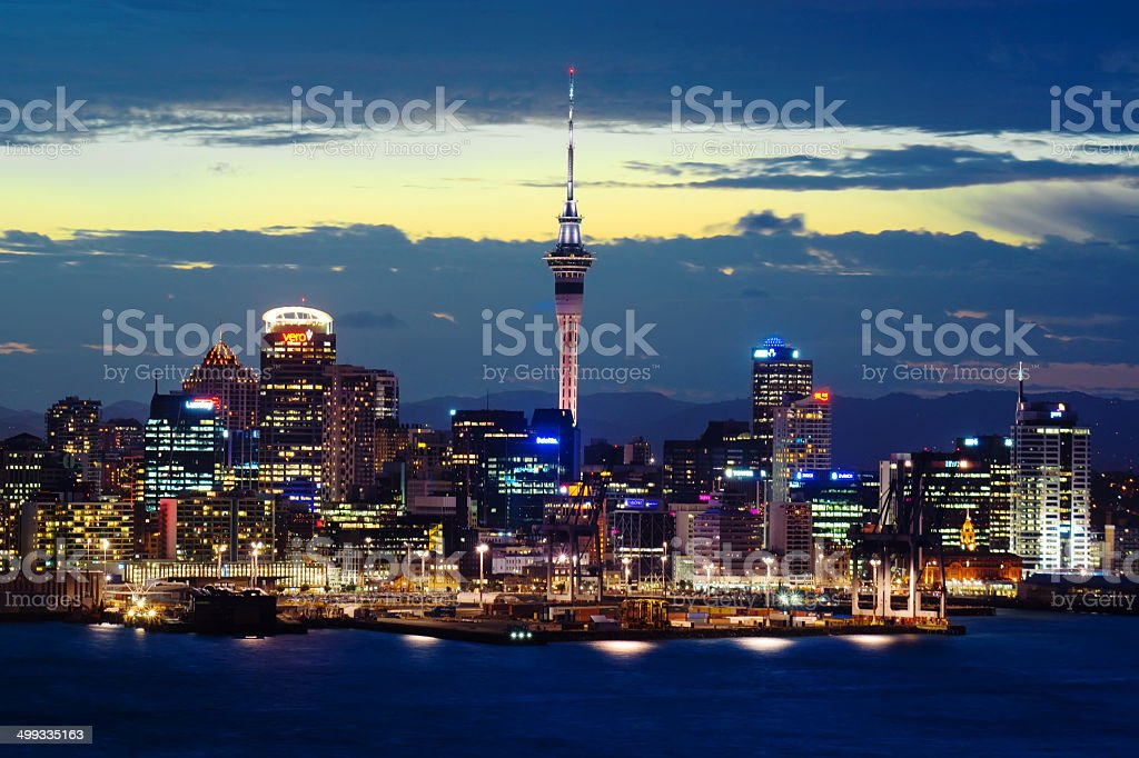 Auckland Skyline - Dusk stock photo
