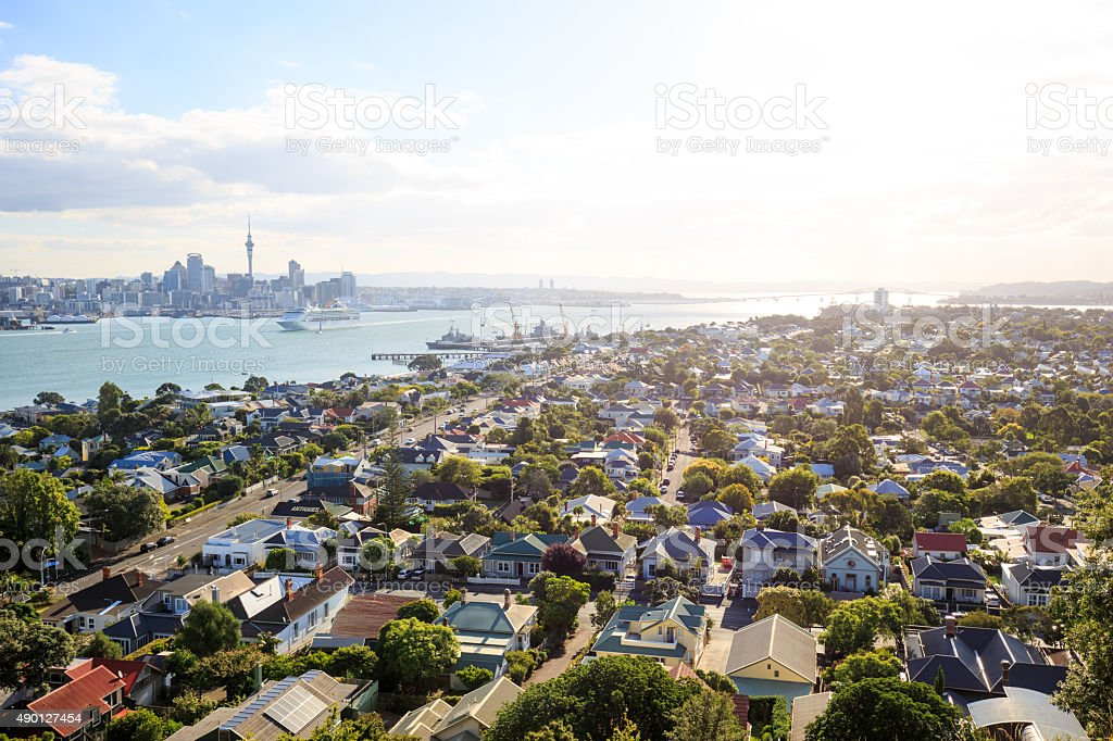 Auckland skyline from Devonport stock photo