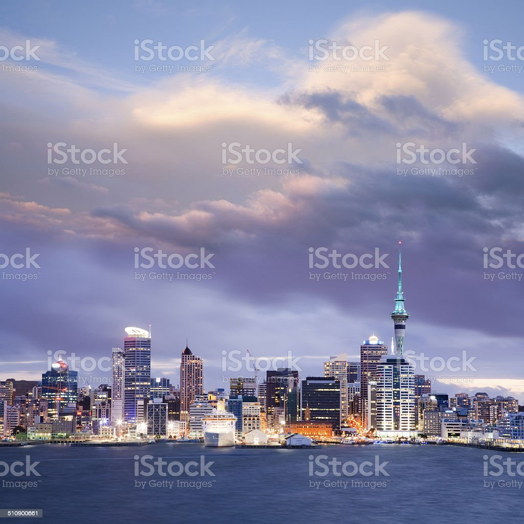 Auckland Skyline New Zealand Twilight Dramatic Sky stock photo