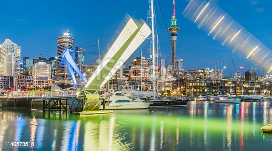 View of Auckland city just after sunset from Marina, New Zealand.