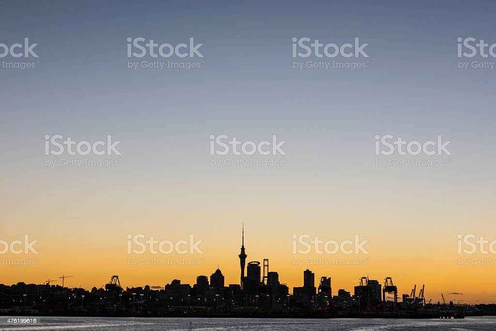 Auckland Skyline Sihouette stock photo