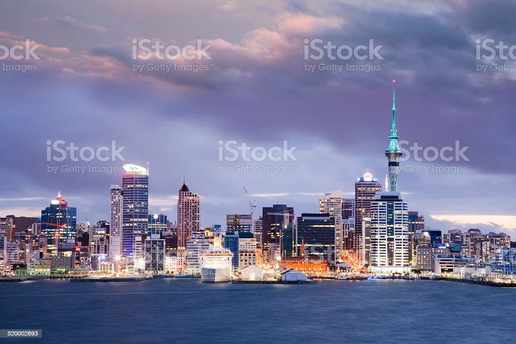 Auckland Skyline Twilight Dramatic Sky stock photo