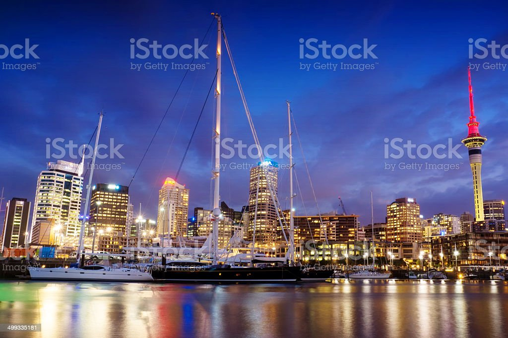 Auckland Skyline - Viaduct Harbour stock photo