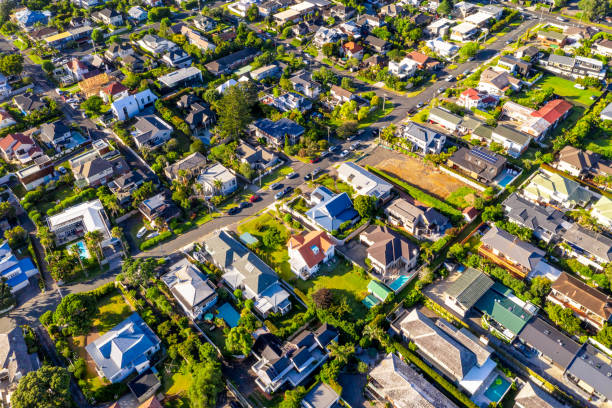 Auckland suburban houses from above stock photo