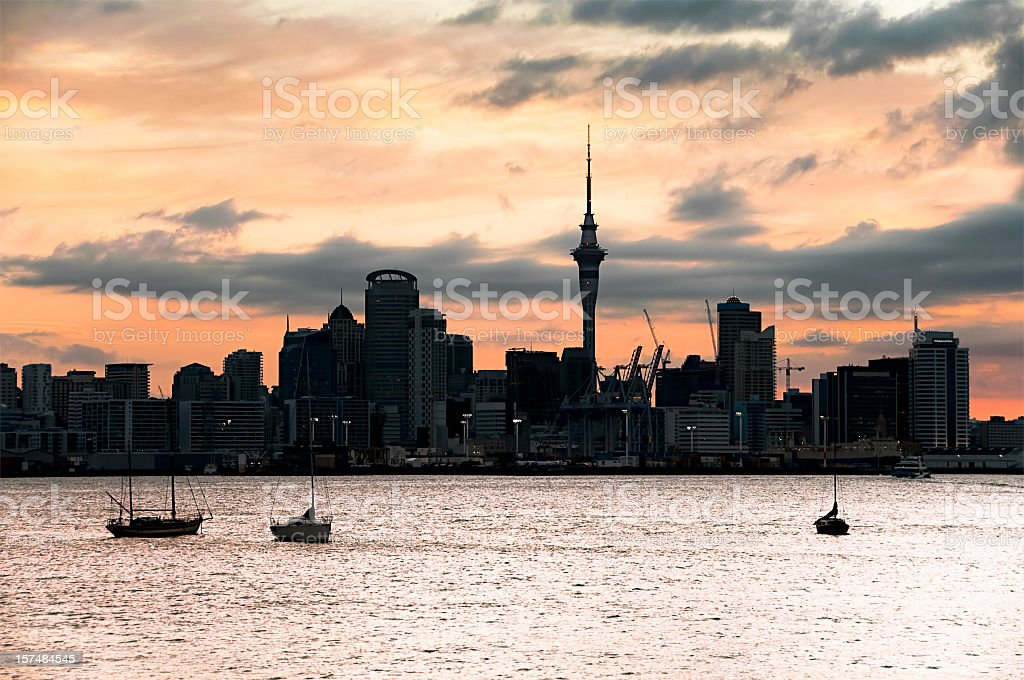 Auckland Sunset Silhouette stock photo