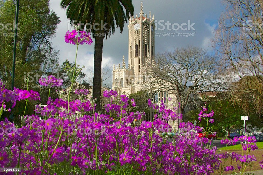 Auckland University campus clock tower stock photo