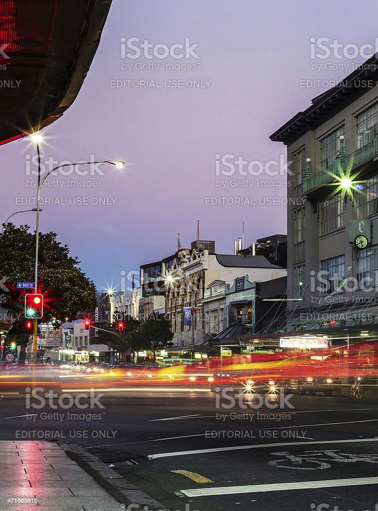 Auckland's Karangahape Road at dusk royalty-free stock photo
