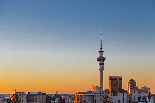 Auckland's Sky Tower at sunset stock photo