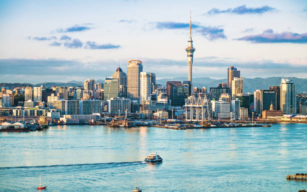 Auckland's skyline at dawn stock photo
